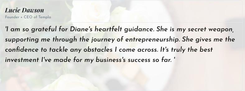 diane prince business coach testimonial